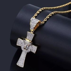 "Other - 14k Gold Lion Cross Pave Pendant 24"" Rope Chain"